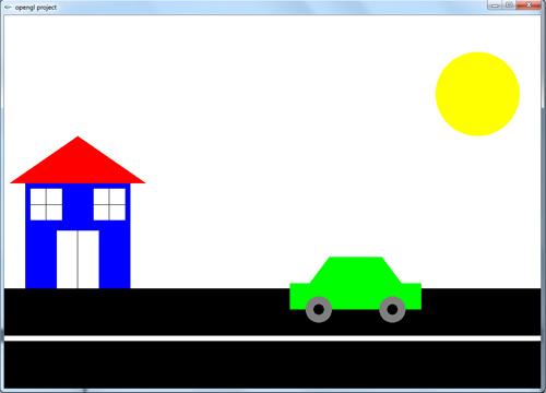 پروژه حرکت ماشین و رسم خانه در opengl