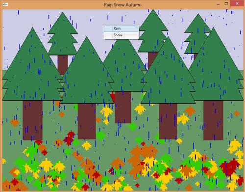 دانلود پروژه گرافیک اوپن جی ال بارش برف و باران در جنگل پاییزی