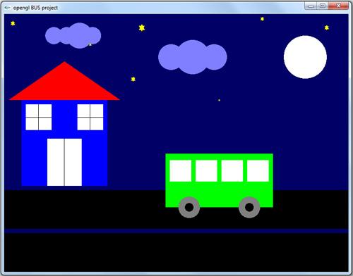 پروژه دوبعدی گرافیک اپن جی ال حرکت اتوبوس در شب