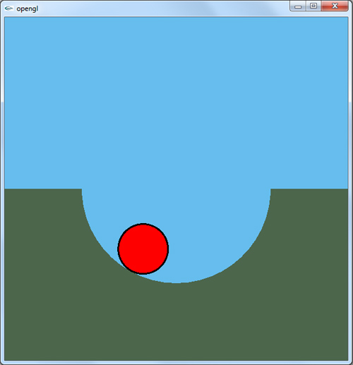 پروژه اپن جی ال نوسان میرای توپ در گودال