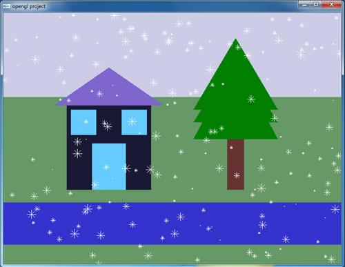 پروژه گرافیک بارش برف روی درخت کاج و خانه