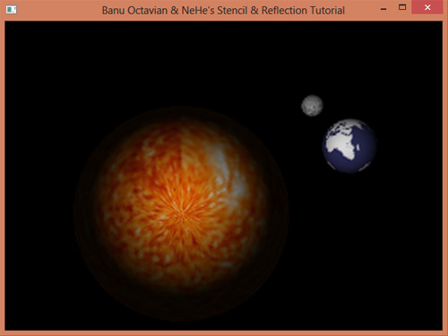 سورس کد گرافیک کامپیوتری چرخش زمین و ماه به دور خورشید