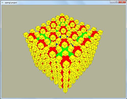 پروژه گرافیک کامپیوتری چرخش مکعب فراکتالی