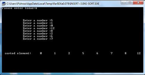 سورس کد مرتب سازی درجی اعداد در اسمبلی