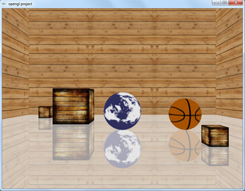 پروژه گرافیک سه بعدی توپ و جعبه در اتاق چوبی