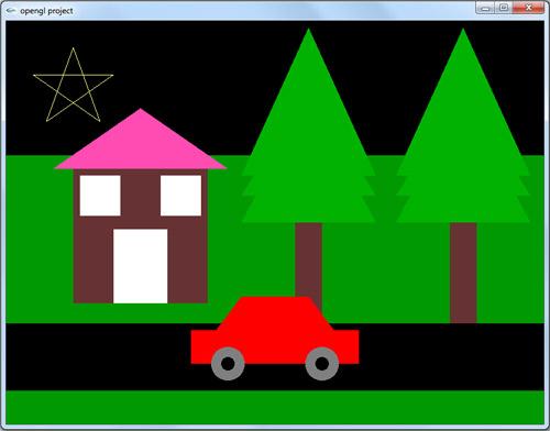 پروژه دو بعدی اپن جی ال نقاشی ماشین، درخت و خانه