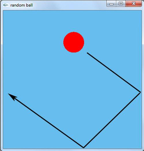 برنامه حرکت تصادفی توپ در گرافیک اپن جی ال
