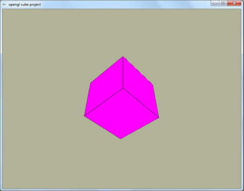 پروژه آماده دوران مکعب مربع سه بعدی opengl