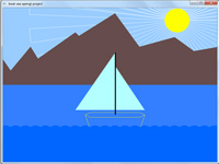 پروژه گرافیک حرکت قایق بادبانی روی دریا